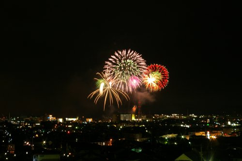 清水市船越堤公園から望む港祭りの花火